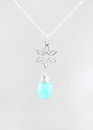 Blue Amazonite Gemstone Pendant with Snowflake Bail and Sterling Silver Chain - 18