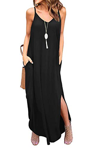 Bloggerlove Womens Nightgowns Cotton V Neck Casual Dress Spaghetti Straps Long Maxi Dresses Black M
