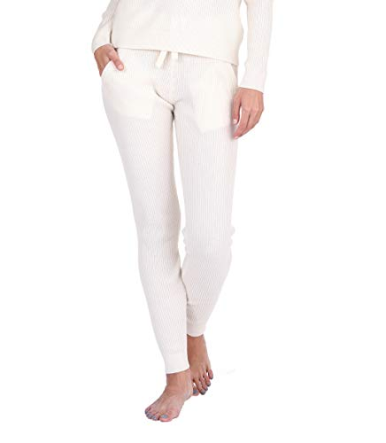 State Cashmere Women's 100% Pure Cashmere Knitted Loungewear Pants with Pockets (Pants/Ivory, Small)