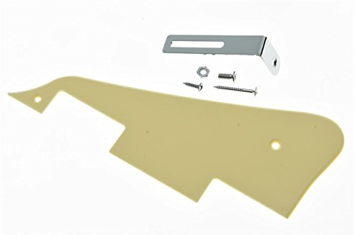 (KAISH Single Cream 1 Ply LP Guitar Pickguard with Chrome Bracket for Epiphone Les Paul)
