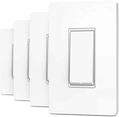Treatlife Smart Light Switch, Neutral Wire Needed, 2.4Ghz Wi-Fi Light Switch, Works with Alexa and Google Assistant, Schedule, Remote Control, Single Pole, ETL Listed (4 PACK)