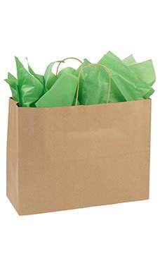 Large Recycled Natural Kraft Paper Shopping Bags - 16''L x 6''D x 12 ½''H - Case of 250