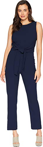 Tahari by ASL Women's Sleeveless Crepe Jumpsuit with Tie Waist Navy 10 ()