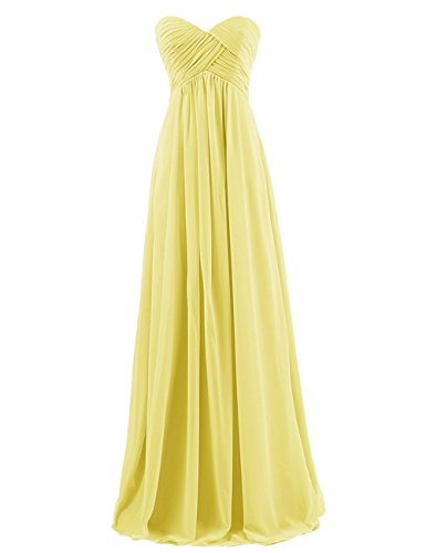 Long Bridesmaid Dress Pleated Chiffon Prom Evening Gowns Maid of Honor Dress Yellow US12