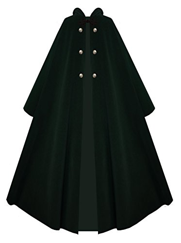 Victorian Vagabond Hooded Steampunk Gothic Medieval Cape Cloak (Forest Green) (Mens Cape)
