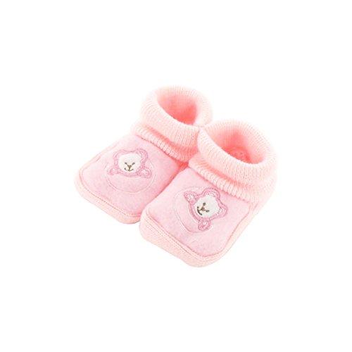 Babyschuhe 0-3 Monate pink - Mond-Bären-Muster