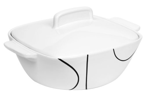 Corelle Coordinates 3-1/2-Quart Square Round Casserole with Ceramic Cover, Simple ()