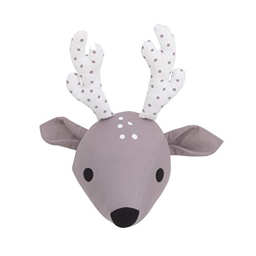 NoJo Taupe & White Deer Plush Head Wall Decor, Taupe, White