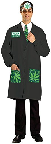 Forum Novelties Men's Doctor Ken Abyss Cannabis Costume, Black/Green, Standard (Doctor Reflector)