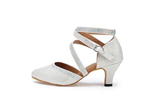 Miyoopark Girls Womens Cinturino Alla Caviglia Cristalli Glitter Scarpe Da Ballo Latino Scarpe Da Sera Da Sposa Argento-tacco 6cm