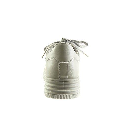 Angkorly - Chaussure Mode Baskets Tennis plateforme basse femme finition surpiqûres coutures Talon compensé plateforme 3.5 CM - Beige