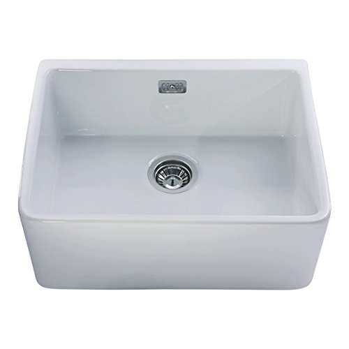 CDA KC11WH 60cm Large Single Bowl Belfast Ceramic Kitchen Sink In ...