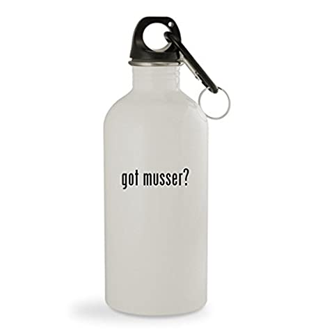 got musser? - 20oz White Sturdy Stainless Steel Water Bottle with Carabiner - Musser Good Vibe