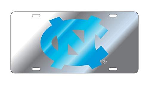 University of North Carolina Tar Heels Laser Cut Mirrored License Plate Silver w/Blue NC ()
