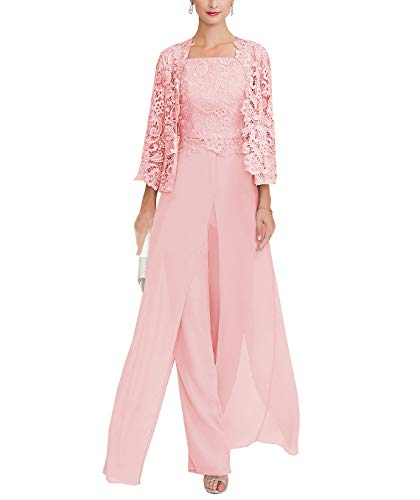 Sexy Women's 3 Pieces Chiffon Mother of Bride Dress Pant Suits with Long Sleeves Appliques Lace Pleat Jacket for Weddinng(10,Pink