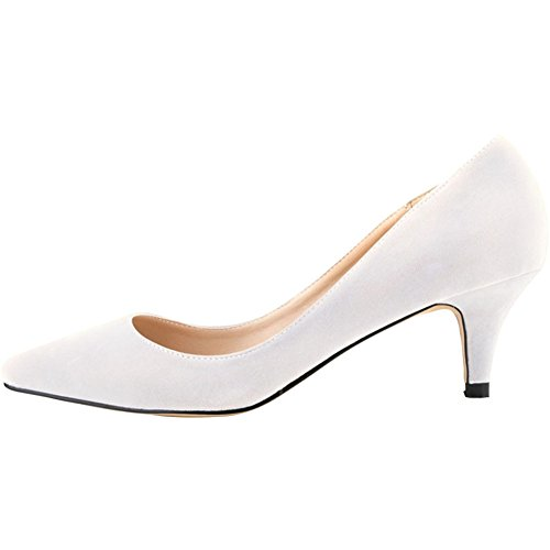 Clásico Blanco La 6cm Altura Zapatos Wealsex Tacon De De Bajo tacón Aguja Mujer Zapatos del daxnqw6F