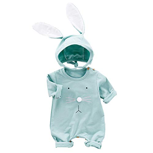 Fairy Baby 2PCS Easter Outfits for Baby Boys Girls Cotton Bunny Outfit Long Sleeve Romper+ Big Ear Cap Size 3-6M (Green)