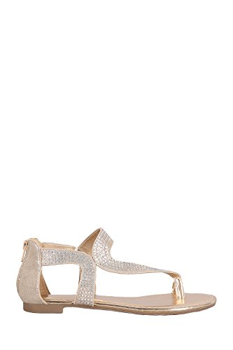 Embellished Metallic (BambooShoes Women's Inspire Metallic Rhinestone Toe Ring Asymmetrical Embellished Flat Strappy Shoe Sandal (7, Gold))