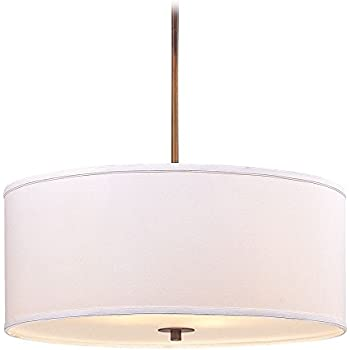 Large Modern Drum Pendant Light with White Shade  Ceiling Pendant