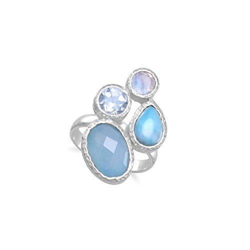 Blue Dyed Chalcedony, Larimar, Blue Topaz, and Moonstone Ring Sterling (Blue Chalcedony Sterling Silver Ring)