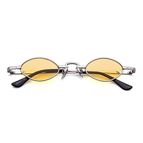 Lente 1 Marco de Gafas mujeres pequeñas Oval retro sol Gafas vintage Amarillo ovales ADEWU Plata hombres para SOgqxwFa