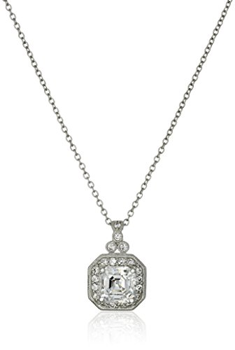 Antique Style Pendant Necklace (Platinum-Plated Sterling Silver Swarovski Zirconia Zirconia Asscher Cut Antique Pendant Necklace (11mm), 16