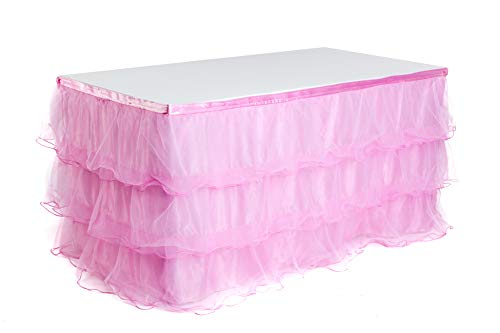 (Handmade 9ft Deluxe 3 Tier Tulle Mesh Tutu Table Skirt for Princess Party, Wedding, Birthday Party & Baby Shower Decoration,Table Skirting)