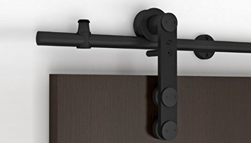 Contemporary Stainless Steel Sliding Barn Door Hardware for Wood Doors / Black Powdered Finish - Grand WF Series (6' Rail Length) - Powdered Wood
