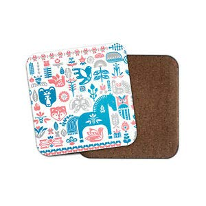 - JIANCAICHEN Swedish Dala Horse Coaster - Pretty Nature Dalarna Pattern Travel Gift