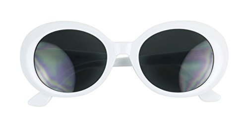 ShadyVEU - Classic Kurt Cobain Style Mod Rock Star Oval Fashion Dark Sunglasses (White Frame, ()