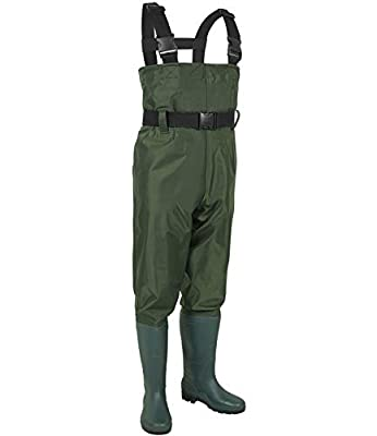 LANGXUN Hip Waders for Kids, Lightweight and Breathable PVC Fishing Waders for Children, Waterproof Bootfoot Waders for Boy and Girl, Army Green Chest Waders for Kids