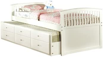 Furniture of America Giordani Mission Style Twin Platform Bed with Twin Trundle and 3 Drawers, White Finish