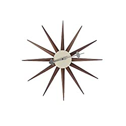 SHISEDECO George Nelson Clock, Decorative Modern Silent Wall Clock for Home, Kitchen,Living Room,Office etc. - Colorful Wooden Mid Century Retro Design(Full Range Available) (Sunburst Clock Walnut)