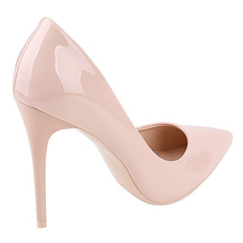 Stiefelparadies Spitze Damen Pumps Samt High Heels Stilettos Party Schuhe Flandell Rosa Lack