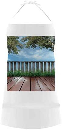 Patio Decor Utility Cotton Linen Apron,Wooden Seem Terrace Veranda with Olive Trees in Open Sky Photo for Home,19.88