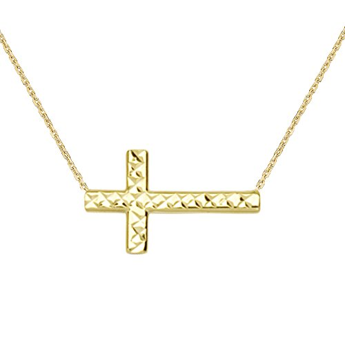 - Ritastephens 14K Yellow Gold Sideways Reversible Shiny Diamond-cut Cross Necklace Adjustable Chain 16-18 Inches