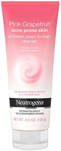 Neutrogena Pink Grapefruit Activated Cream-to-Foam Cleanser Acne Prone Skin Grapefruit Extract, Acne Face Wash, 3.5 oz (Pack of 2)