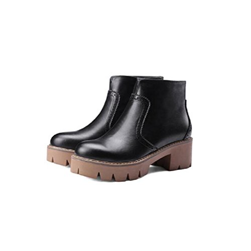 Women's Autumn and winter with Thick Bottom Head Bootie Retro Leather Casual Martin Boots 37 ZosaE