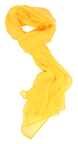 Love Lakeside Modern Sheer Chiffon Solid Color Silk Blend Oblong Scarf Bright Yellow