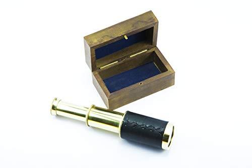 Mini Pirate Spyglass Telescope with Wooden Box