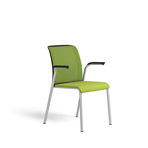 Steelcase Reply Guest Chair: Mesh Back Fixed Arms - Platinum Metallic Frame - Glides