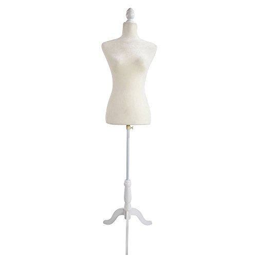 Valuebox Female Mannequin Torso Women Dress Form Fully Pinnable with Wooden Tripod Stand 33