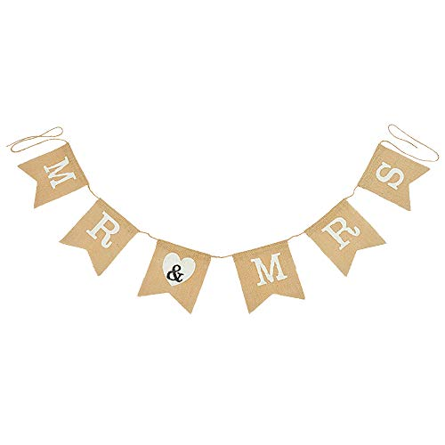 Mr and Mrs Burlap Bunting Banner for Wedding Decoration -