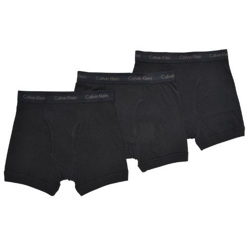 Calvin Klein Men's Underwear Cotton Classics 3 Pack Boxer Briefs, Black L