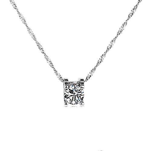 ROFIFY Silver Plated Cubic Zirconia Round Diamond Design Solitaire Pendant Necklace FJ033 ()