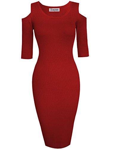 ish Cut Out Shoulder Bodycon Knit Midi Dress TWCWD121-D160-ULTRARED-US XL ()