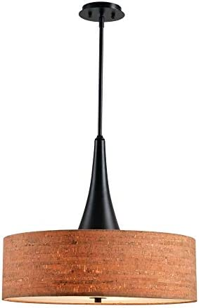 Kenroy Home 93013ORB Bulletin 3 Light Drum Cork Pendant