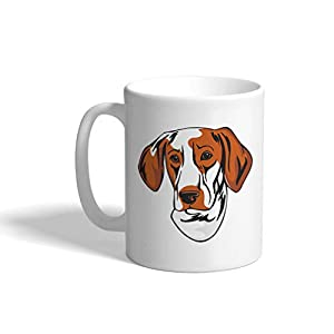 Custom Funny Coffee Mug Coffee Cup Ariege Pointer Head White Ceramic Tea Cup 11 OZ Design Only 11