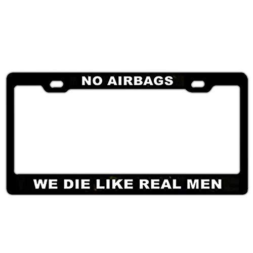 XYcustomBest Heavy Duty Marine Corps License Plate Frame Black | No Airbags We Die Like Real Men | 100% Guaranteed Durability (No Airbags We Die Like Real Man)