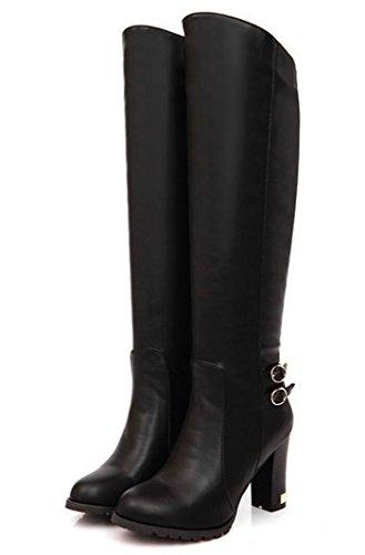 42 alto Plus 40 de Style gran de rodilla la tamaño para Botas 43 41 de Stovepipe a Botas CYGG black mujer tacón terciopelo qYPRwng